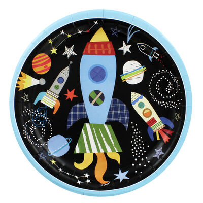 Space Rocket Paper Plates - Pack Of 8 image number 1