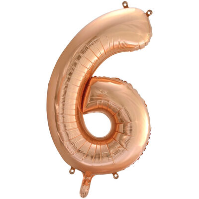 34 Inch Rose Gold Number 6 Helium Balloon image number 1