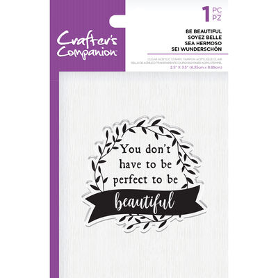 Crafters Companion Clear Acrylic Stamp - Be Beautiful image number 1