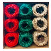Multi-coloured Jute Roll Twine: Pack of 9