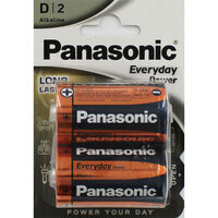 Panasonic Alkaline D Batteries - Pack of 2
