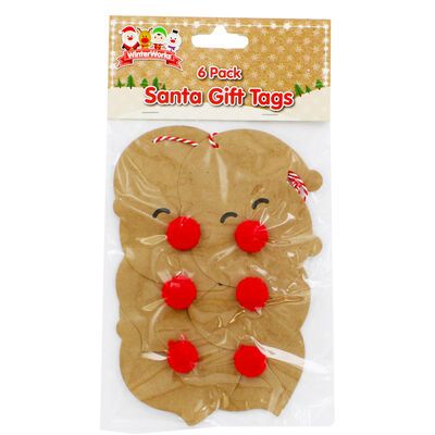 6 Pom Pom Festive Gift Tags: Assorted image number 2