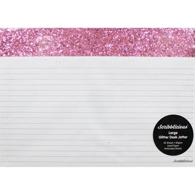 Pink Glitter Large Desk Jotter Pad image number 1
