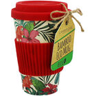 Red Floral Bamboo Eco Travel Mug image number 1