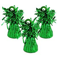 Green Tinsel Balloon Weights: Pack of 3