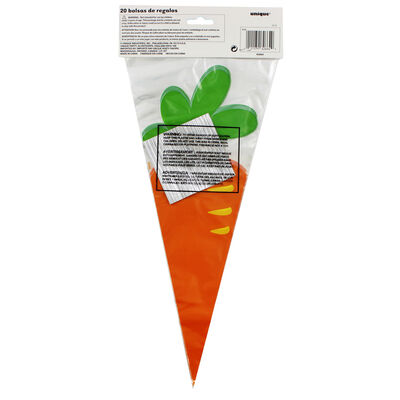 Easter Carrot Plastic Treat Bags - 20 Pack image number 1