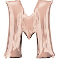 34 Inch Rose Gold Letter M Helium Balloon
