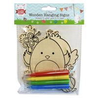 Colour Your Own 2 Easter Wooden Hanging Signs - Assorted