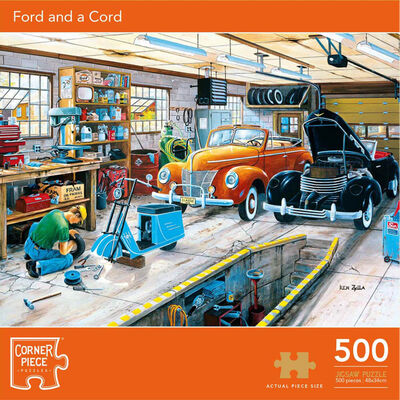 Ford and a Cord 500 Piece Jigsaw Puzzle image number 1