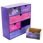 Purple Glitter Wooden 6 Drawer Storage Set image number 4