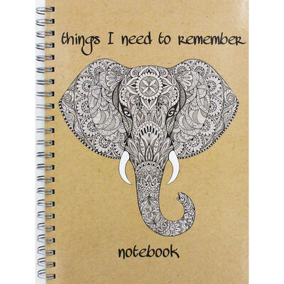 A4 Wiro Elephant Remember Lined Notebook image number 1