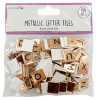 Dovecraft Essentials Metallic Letter Tiles - Rose Gold - 150 Pieces