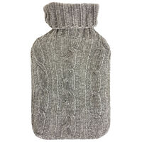 Grey Knitted Cable Hot Water Bottle