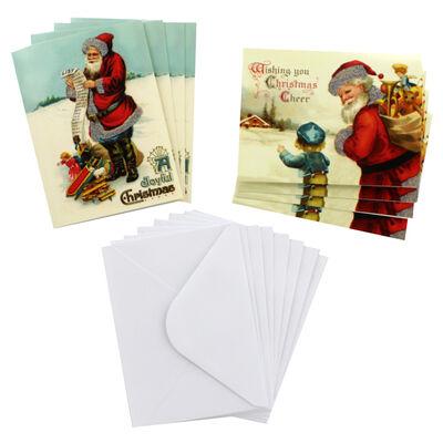 8 Vintage Christmas Cards in Tin - Santa List image number 2