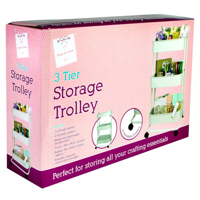 Cream 3 Tier Storage Trolley image number 1