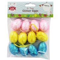 Glitter Easter Eggs: Pack of 12