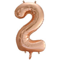 34 Inch Rose Gold Number 2 Helium Balloon