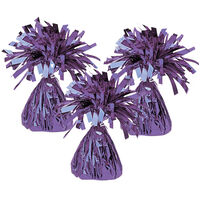 Purple Tinsel Balloon Weights: Pack of 3