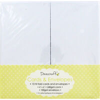 10 White Tri Fold Blank Cards - 6 x 6 Inches