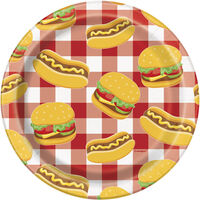 Burger BBQ Small Paper Plates - 8 Pack