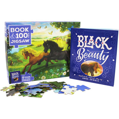 Black Beauty 100 Piece Jigsaw Puzzle and Book Set image number 2