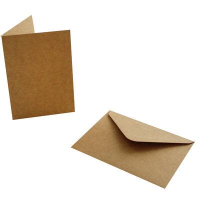 20 Brown Kraft Cards and Envelopes - 7cm x 10cm image number 3