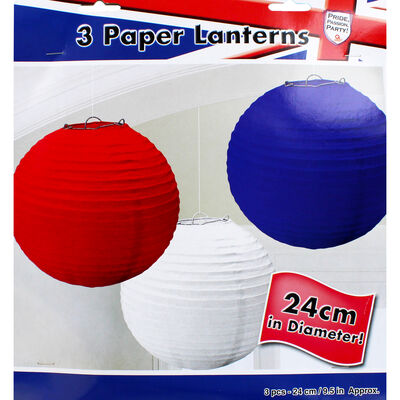 Red, White and Blue Hanging Lanterns - Set of 3 image number 1