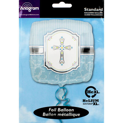 18 Inch Blue Cross Foil Helium Balloon image number 2