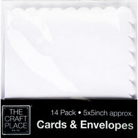 14 Scalloped Edge Greeting Cards - 5 x 5 Inches