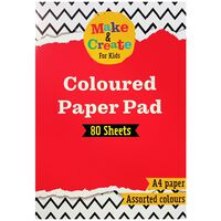 A4 Coloured Paper Pad: 80 Sheets