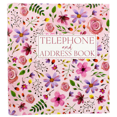 Pink Floral Telephone And Address Book image number 1