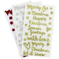 Christmas Sentiment Glitter Stickers