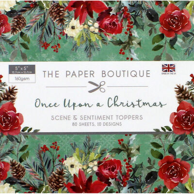 Once Upon a Christmas Scene and Sentiment Toppers Pad - 5x5 Inch image number 1
