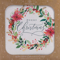 Wreath Christmas Cards: Pack Of 10