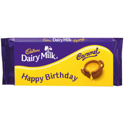 Cadbury Dairy Milk Caramel Chocolate Bar 110g - Happy Birthday image number 1