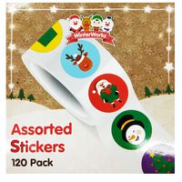 Assorted Christmas Stickers: Pack of 120