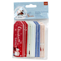 At Home with Santa Wooden Sentiment Toppers - 12 Pack