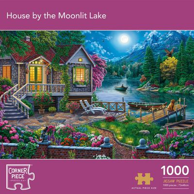 House by the Moonlit Lake 1000 Piece Jigsaw Puzzle image number 1