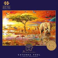 Savanna Pool 1000 Piece Jigsaw Puzzle with Portapuzzle Board Bundle