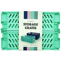 Blue and Turquoise Foldable Storage Crates: Pack of 2