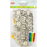 Colour Your Own Wooden Easter Sign