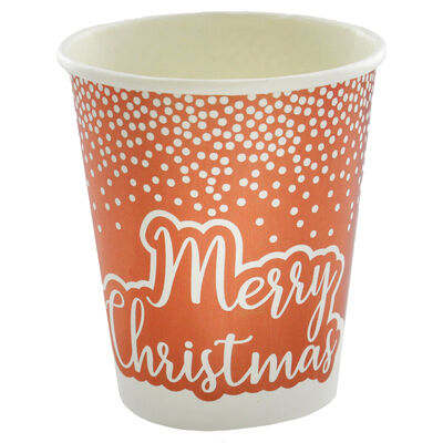 Rose Gold Foil Dot Merry Christmas Paper Cups - 8 Pack image number 3