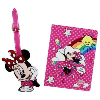 Disney Minnie Mouse Pink Rainbow Luggage Accessory Set image number 2