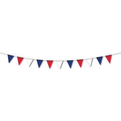 Red, White and Blue 7m Plastic Pennant Bunting image number 2
