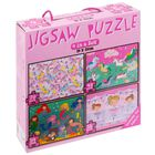 Pink 4 in 1 Jigsaw Puzzle Set image number 1