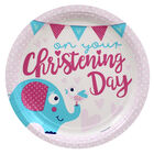 Pink Christening Day Paper Plates - 8 Pack image number 1