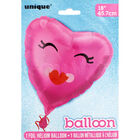 18 Inch Smiling Pink Heart Foil Helium Balloon image number 2