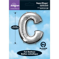 34 Inch Silver Letter C Helium Balloon