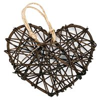 Brown Rattan Hearts: Pack of 6