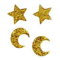 Glitter Star and Moon Embellishments - 12 Pack